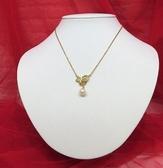 快速出貨 珍珠 日本珍珠鑽石18K黃K金扣 項鍊【Tifana】