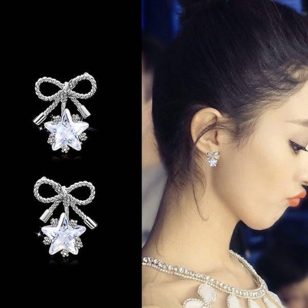 耳環 華麗蝴蝶結星星鋯石 925銀針 耳環