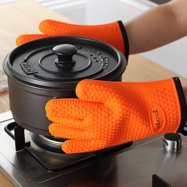 2隻防燙矽膠微波爐加棉隔熱手套烤箱耐高溫廚房防熱五指