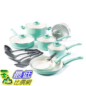 [8美國直購]  陶瓷鍋鈦合金不沾鍋 廚具套裝 GreenLife Soft Grip 16pc Ceramic Non-Stick Cookware Set, Turquoise
