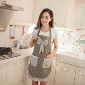 韓版時尚圍裙女款圍裙全棉無袖廚房背帶做飯圍兜雙層家居圍裙棉質【販衣小築】