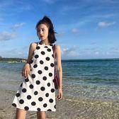 波點無袖掛脖連身裙女夏2019新款寬松吊脖海邊度假 伊蒂斯女裝