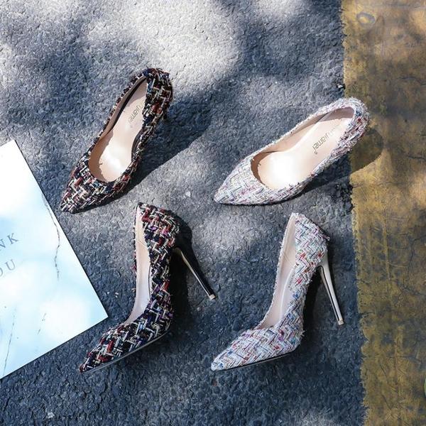 全館83折 高跟鞋春季2018新款女百搭尖頭淺口細跟單鞋女性感氣質小香風中跟