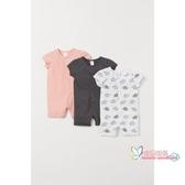 連身裝 兒童衣服連身包屁衣 寶寶連身睡衣夏裝薄款3件裝HM0643678