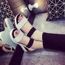 (全館一件免運)DE shop -韓國大流行 寬版配色羅馬涼鞋 35-39號 【NN-2730】