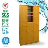 SGS 防潮抗蟲蛀緩衝塑鋼加高五門三抽半開放式置物鞋櫃  5色
