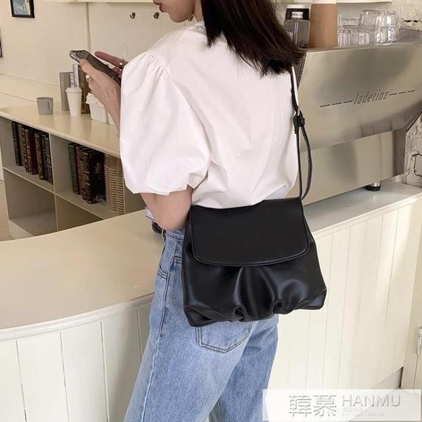 韓國新款復古百搭餃子包簡約小包包小眾設計褶皺包翻蓋單肩斜背包  牛轉好運到