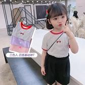 女童T恤 寶寶卡通t恤兒童條紋上衣女童短袖套頭童裝修身洋氣2021夏裝新款【快速出貨】
