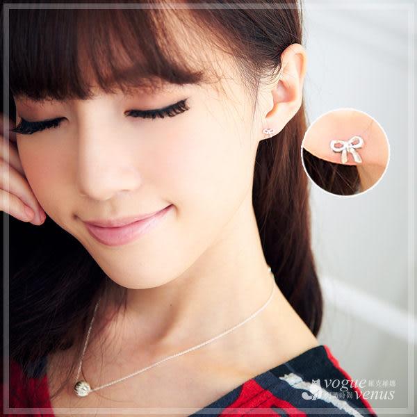 微風慢步 經典俏皮蝴蝶結貼耳耳環 925純銀耳環 維克維娜