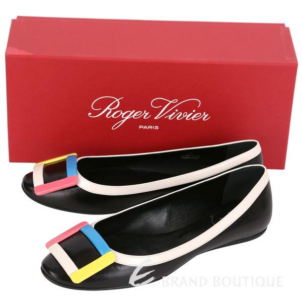 Roger Vivier Gommette 彩色方框小牛皮平底芭蕾鞋(黑色) 1620913-01