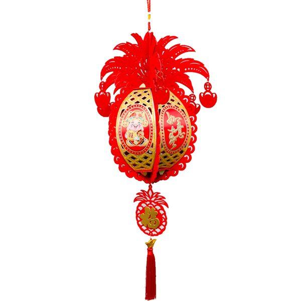 立體紅絨鳳梨造型+小旺來宮燈吊掛飾(大) 家居風水辦公室裝飾  勝億開運招財飾品批發零售