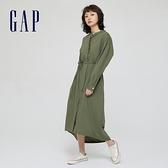 Gap女裝 純棉寬鬆圓領連衣裙 669895-綠色