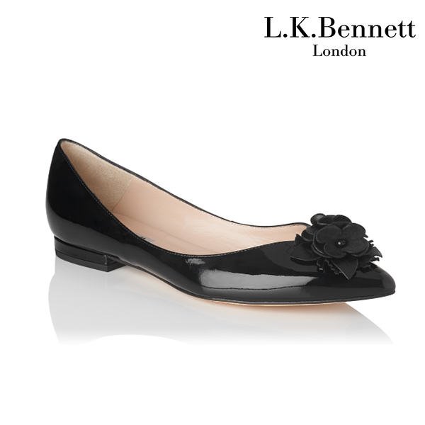 【L.K. BENNETT】凱特王妃珍選 必搭鞋類 POPPIE漆皮花朵造型平底鞋-黑 (原廠公司貨)