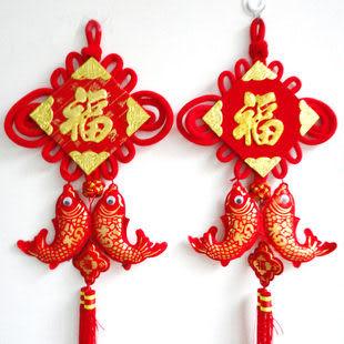 新年用品 中國結掛件年年有魚掛飾 立體鍍金福掛布魚216g