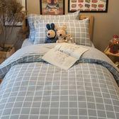 韓系歐巴格紋 S2單人床包雙人被套三件組 100%復古純棉 台灣製造 棉床本舖