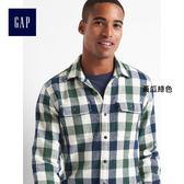 Gap男裝 舒適純棉斜紋法蘭絨長袖襯衫 864645-黃瓜綠色