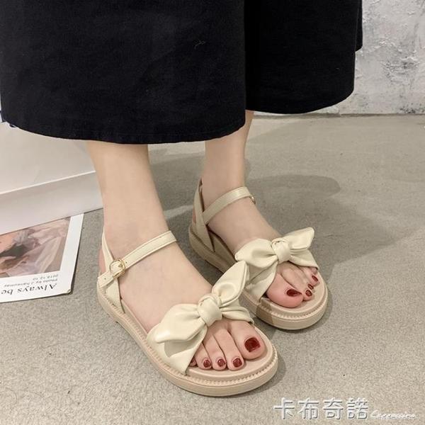 涼鞋女仙女風平底年新款夏季百搭蝴蝶結一字帶沙灘羅馬鞋ins 卡布奇諾