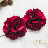 紅色緞面韓版喜氣熱情花朵鞋扣鞋夾配飾