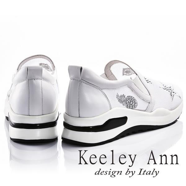 ★2018春夏★Keeley Ann休閒步調~街頭金鑽圖式透膚真皮軟墊休閒鞋(白色) -Ann系列