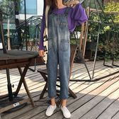 連身褲 秋季女裝學生復古港味寬鬆顯瘦九分褲牛仔背帶褲闊腿連體褲潮 迪澳安娜