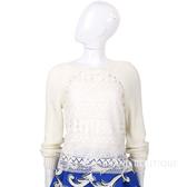 PHILOSOPHY 米色縷空織花拼接長袖粗針織上衣(附內襯) 1620158-20