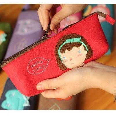 森林家族 韓版動物系列 毛氈筆袋 鉛筆袋 文具袋【B9057】