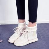 馬丁靴馬丁靴女冬季學生韓版女靴子文藝森繫毛線口短靴 毅然空間