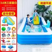 兒童充氣游泳池加厚家用小孩泳池嬰兒寶寶超大型游泳桶滑滑梯水池  韓慕精品 YTL