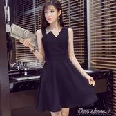 夏季新款性感高腰顯瘦吊帶洋裝赫本小黑裙無袖a字洋裝女 父親節促銷