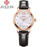 JULIUS 聚利時 微醺夢境點鑽皮革錶帶腕錶-質感黑/30mm 【JA-945D】