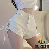 高腰白色牛仔褲女夏闊腿顯瘦綁帶褲子休閒超短褲熱褲【創世紀生活館】