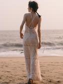 掛脖露背性感顯瘦超仙蕾絲洋裝女巴厘島旅游沙灘裙海邊度假長裙 三角衣櫃