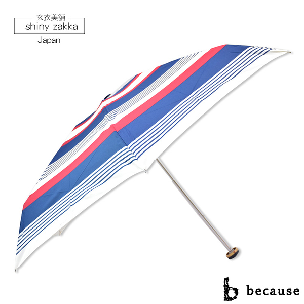 抗UV摺疊傘-日本品牌because迷你雨傘/陽傘-藍紅-玄衣美舖