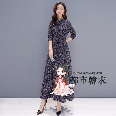 洋裝 2019年秋裝新款長袖碎花洋裝修身顯瘦收腰遮小肚子氣質大擺長裙 4色S-5XL