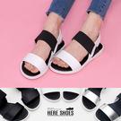 [Here Shoes]涼拖鞋-MIT台灣製原宿太空感一字平底伸縮帶露趾涼鞋─AW746