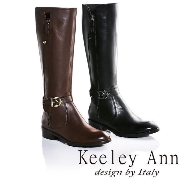 ★零碼出清★Keeley Ann獨特側拉鍊造型皮帶金屬扣飾低跟長靴(咖啡色) -Ann系列