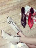 前拉鍊短靴女春秋新款韓版百搭細跟性感英倫馬丁靴尖頭裸靴子