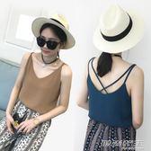夏季新款V領雪紡背心吊帶女韓版短款外穿打底衫寬鬆大碼無袖上衣       時尚教主