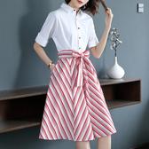 洋裝 時尚收腰大擺中長款襯衫裙修身氣質假兩件連身裙