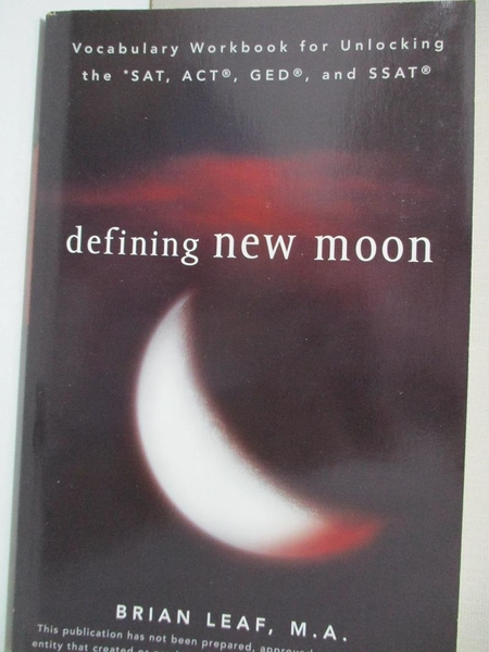 【書寶二手書T1/語言學習_ALX】Defining New Moon: Vocabulary Workbook for…
