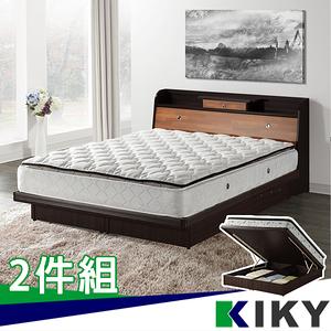 【KIKY】武藏抽屜加高 雙人5尺二件床組(床頭箱+掀床底)白橡