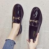 英倫風小皮鞋女冬季女鞋2020新款秋鞋韓版百搭復古平底黑色豆豆鞋 韓語空間
