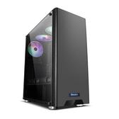 電腦機箱-航嘉GS500C黑色機箱 中塔式寬體電競遊戲機箱支持ATX大板側透機箱 【快速出貨】