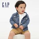 Gap嬰兒 時尚棉質翻領牛仔外套 418469-水洗靛藍色