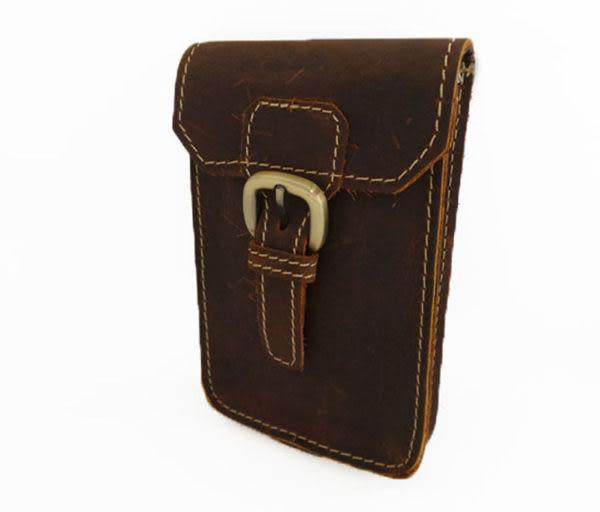 真皮手機腰包-休閒復古瘋馬皮 皮帶扣 手機袋 sony 手機包 掛包 真皮包 零錢包 收納包 (深棕色)
