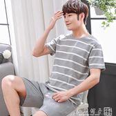 夏季男士睡衣短袖短褲純棉薄款青少年套裝大碼夏天男款青年家居服      良品鋪子