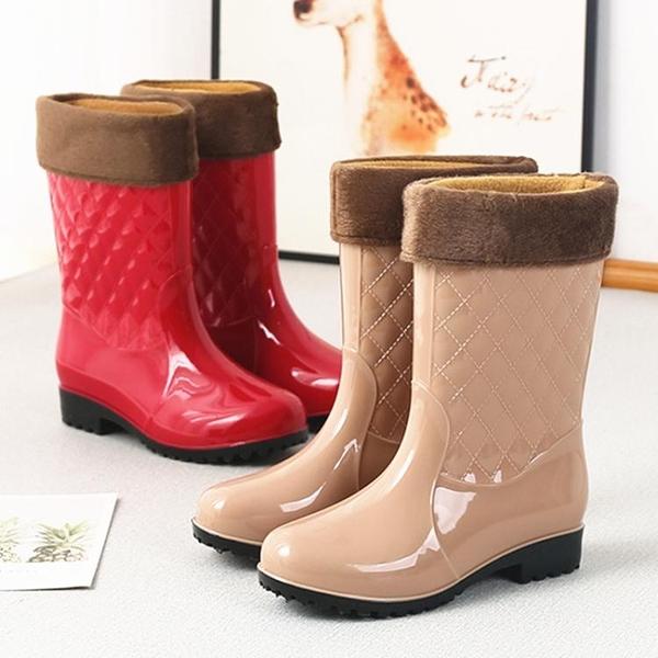 中筒雨鞋女士雨靴短筒加絨成人水靴廚房防滑膠鞋