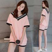 夏季韓版女士休閒V領睡衣大碼寬鬆少女學生卡通可愛家居服兩件套 優帛良衣