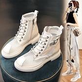 厚底馬丁靴女夏季薄款透氣休閒百搭黑色短靴夏天鏤空網眼網紗女靴 【Ifashion】