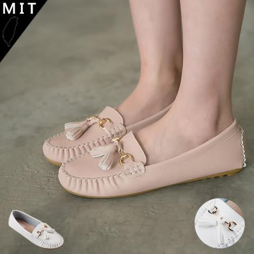 女款 MIT流蘇金屬飾釦 休閒平底豆豆鞋 59鞋廊